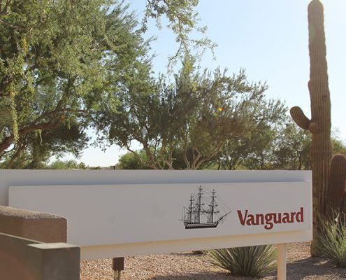 Vanguard Scottsdale, Arizona office signage, cactus