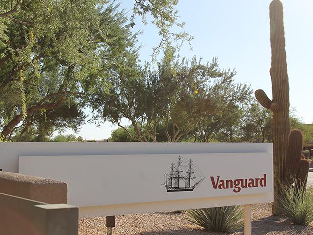 Vanguard Scottsdale, Arizona office signage, cactus