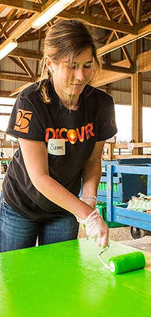 Discover employees building a playground at a volunteer event