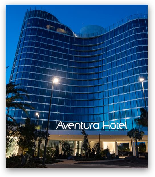 Exterior of Universal's Aventura Hotel at night