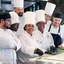Diverse group of Culinary Team Members wearing chef hats