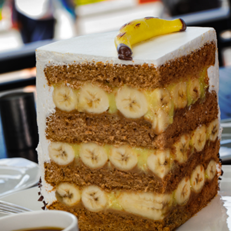 A slice of Big Banana Cake at the NBC Sports Grill and Brew