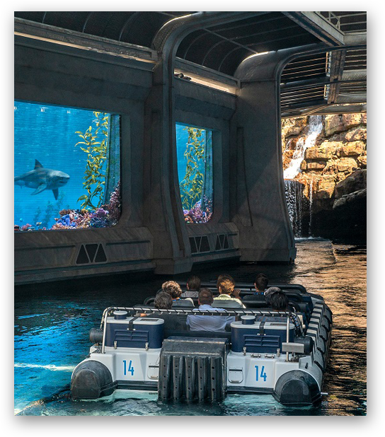 Exciting water feature at Jurassic World – The Ride at Universal Studios Hollywood