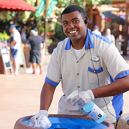 Park Services Team Member keeps guest areas clean and shiny
