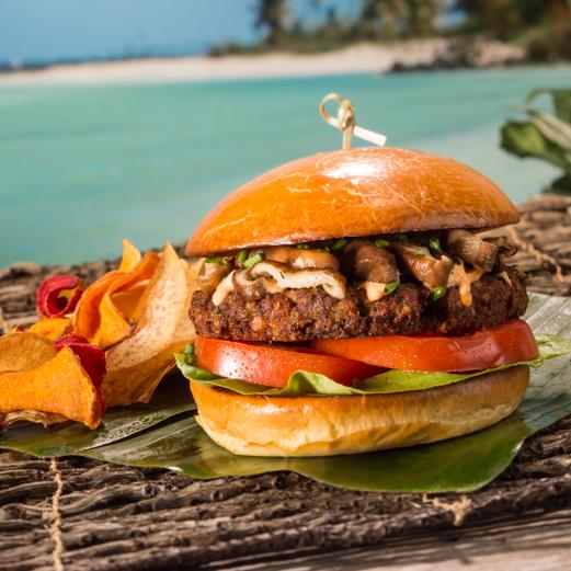 Kohola Burger served at Volcano Bay
