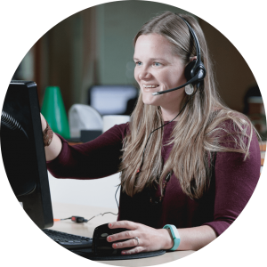Smiling woman working at Cox Call Center