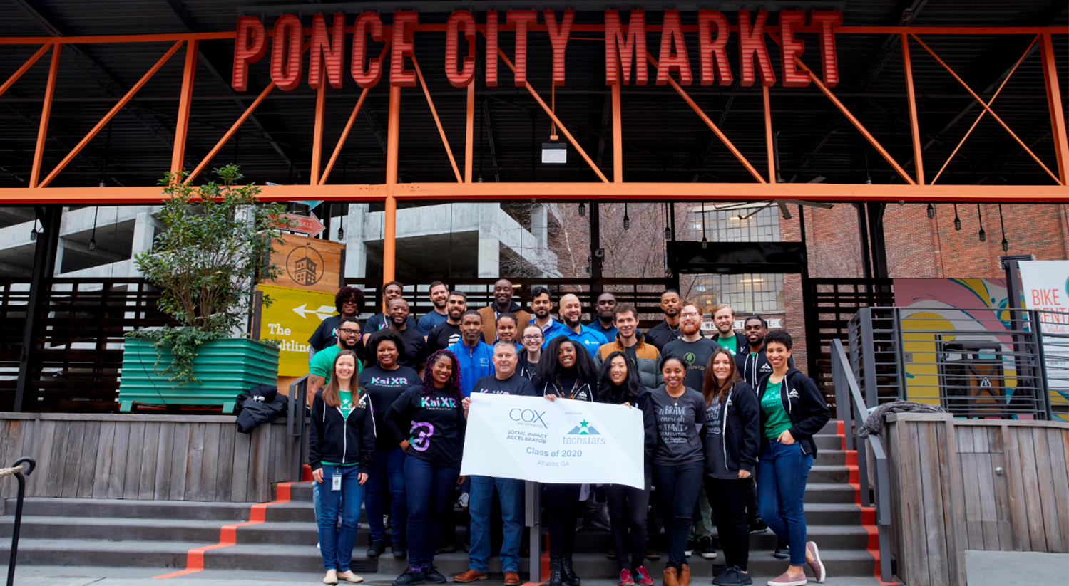 TechStars group photo in front of Ponce City Market