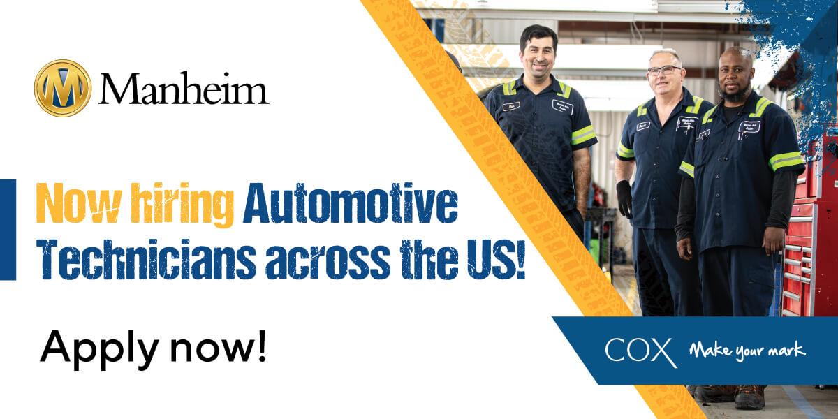 Manheim is now hiring automotive technicians