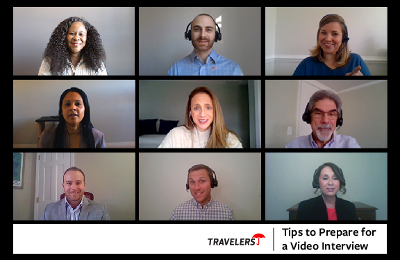 Preparing for a video interview. Nine Recruiters in a video chat.