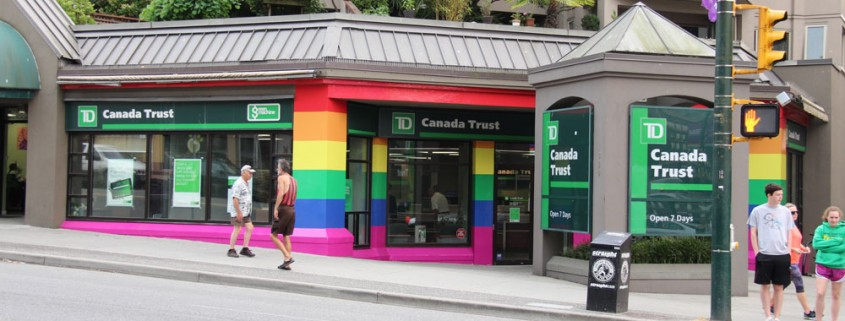 Vancouver branch repainted in pride rainbow colours.