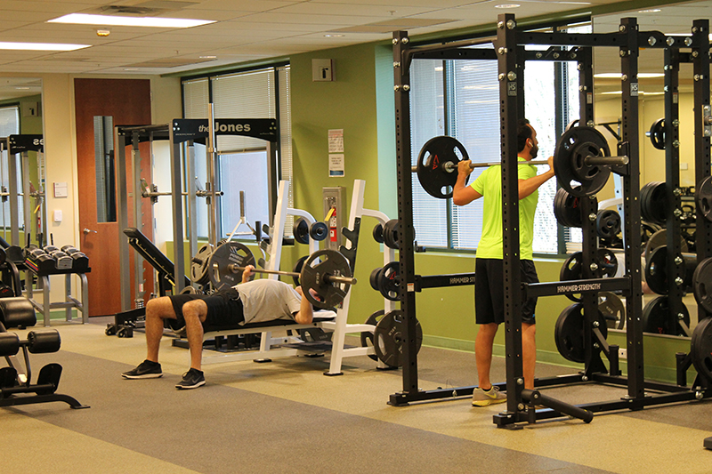 Crew working out at Vanguard Arizona's Ship Shape gym and fitness center