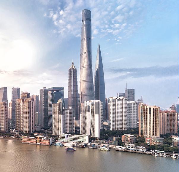 강변의 현대 도시 스카이라인