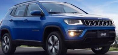 Veículo da marca Jeep em azul brilhante