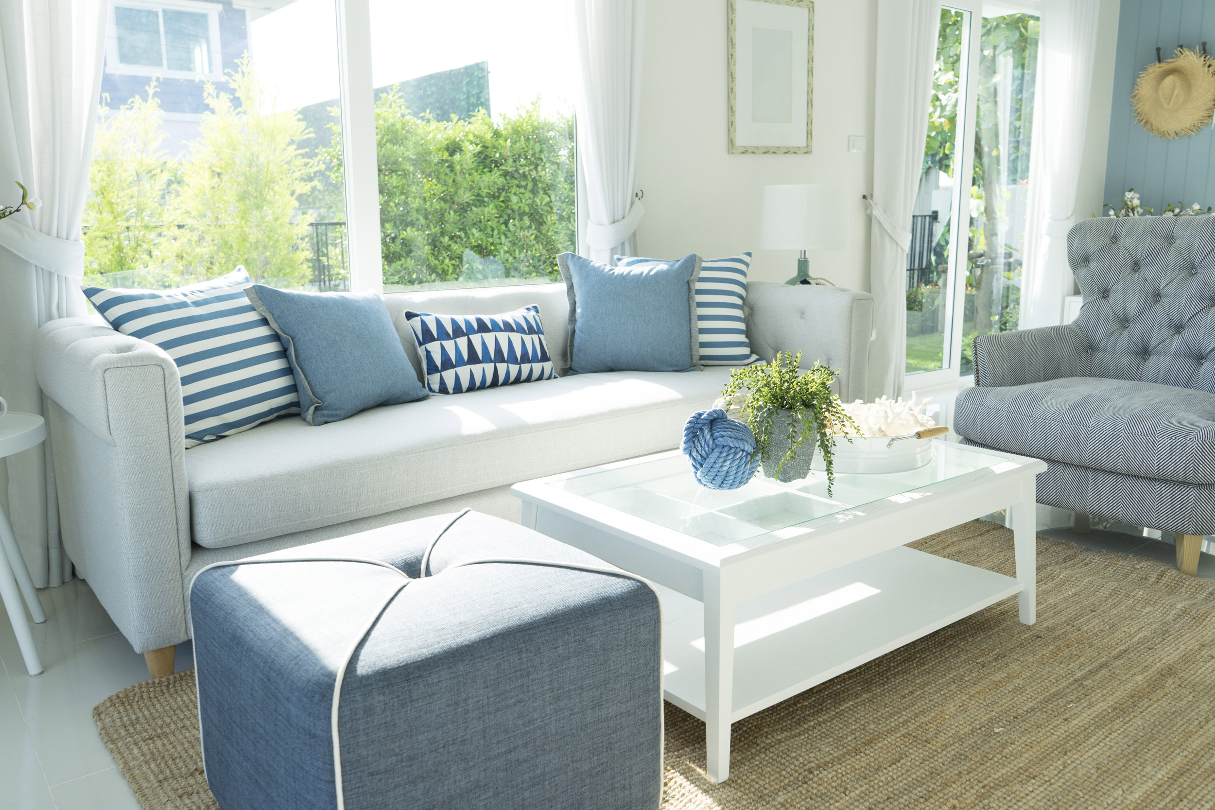 beach blue cushion and sofa of coastal home.