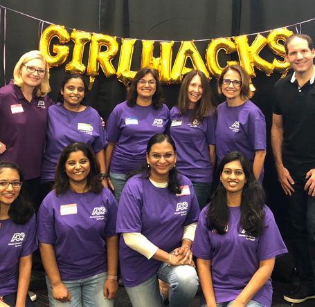 Group of female employees at GirlHacks event