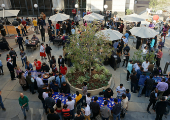 Aerial view of outdoor gathering space at ADP in Pasadena