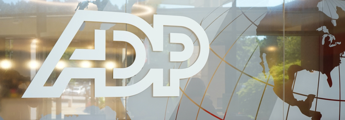 ADP logo on a glass window