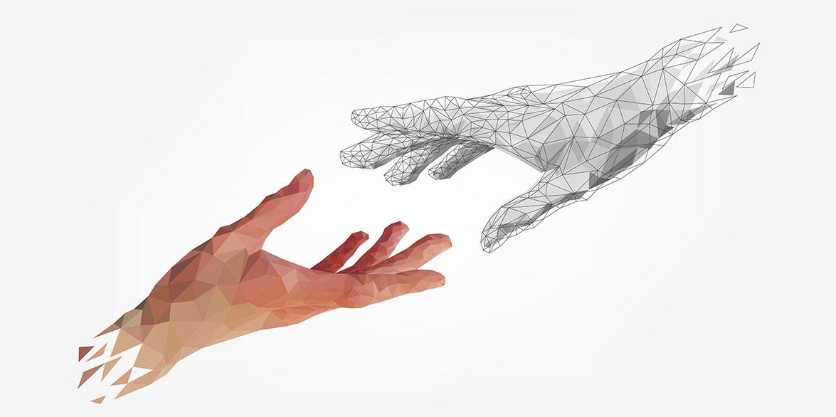 a digital illustration of two hands