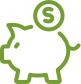 Piggy bank line drawing icon