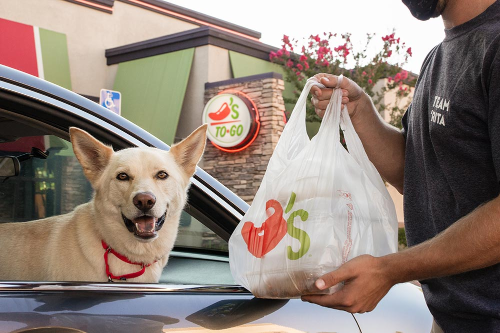 Chili's Team Member with protective mask bringing take-out food to a car with a dog in the front passenger seat