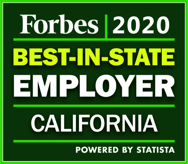 Best-In-State Employer, California, Forbes 2020