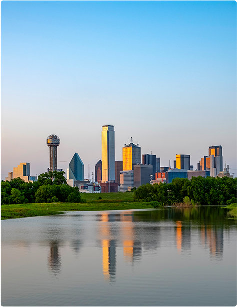 The Dallas downtown skyline and Trinity River