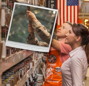 Home Depot military man helping woman