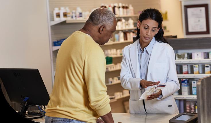 A doctor explaining a medical prescription to a patient.