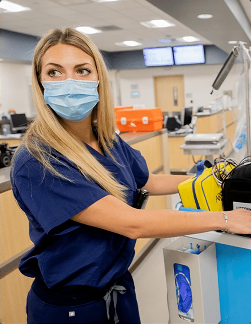 Female nurse wearing mask