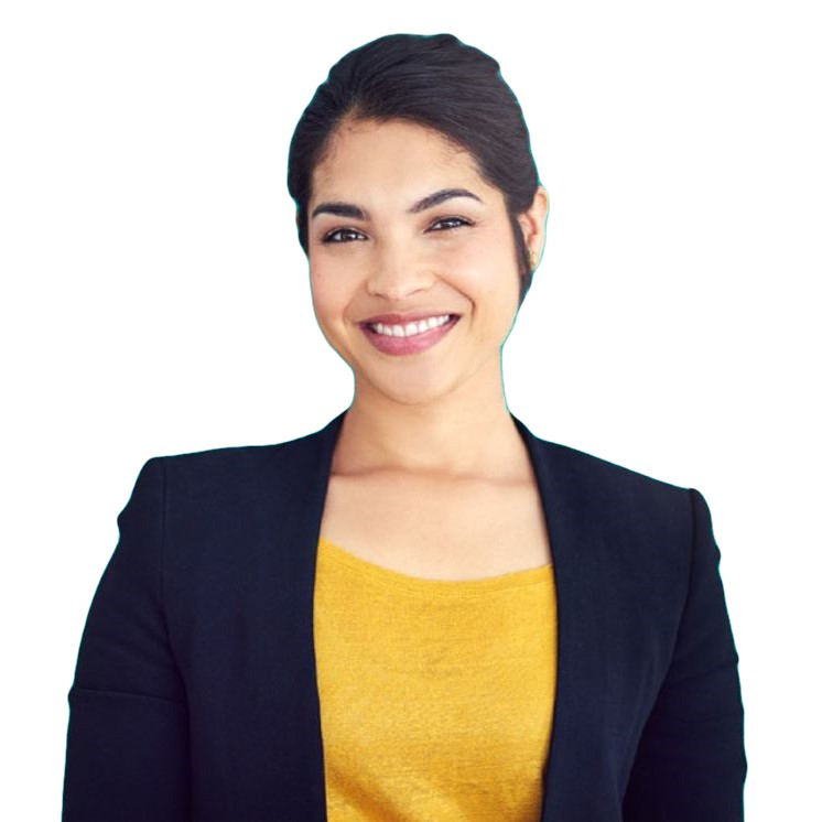A smiling sales woman