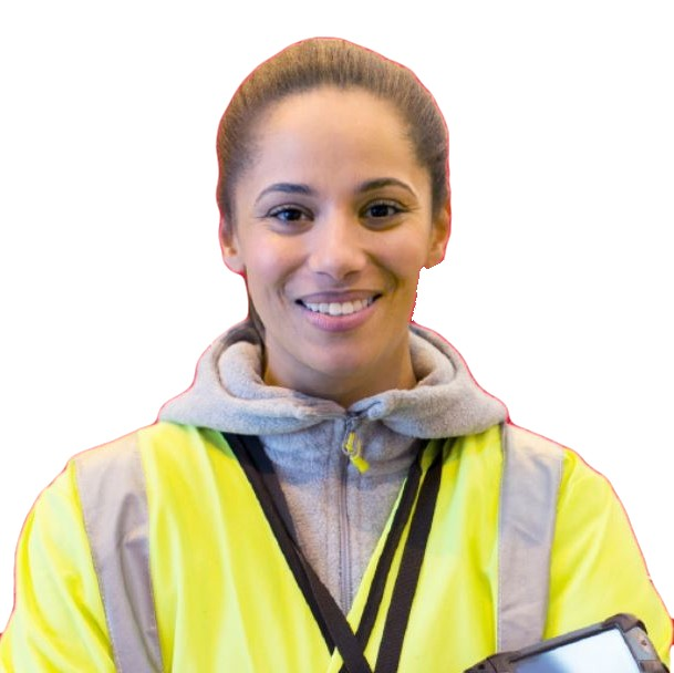 A supply chain associate wearing a yellow, safety jacket