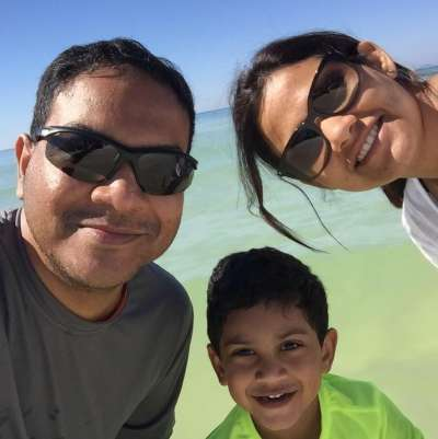 Sree, her husband and son