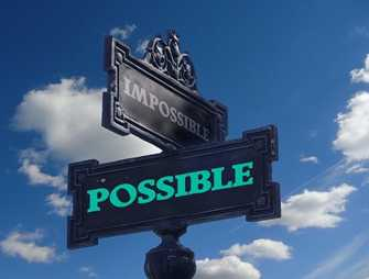 "A signpost with the words ""Possible"" and ""Impossible"""