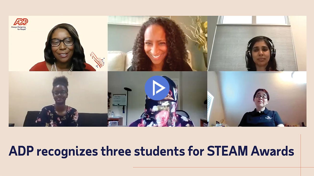 video: ADP recognizes three students for STEAM Awards
