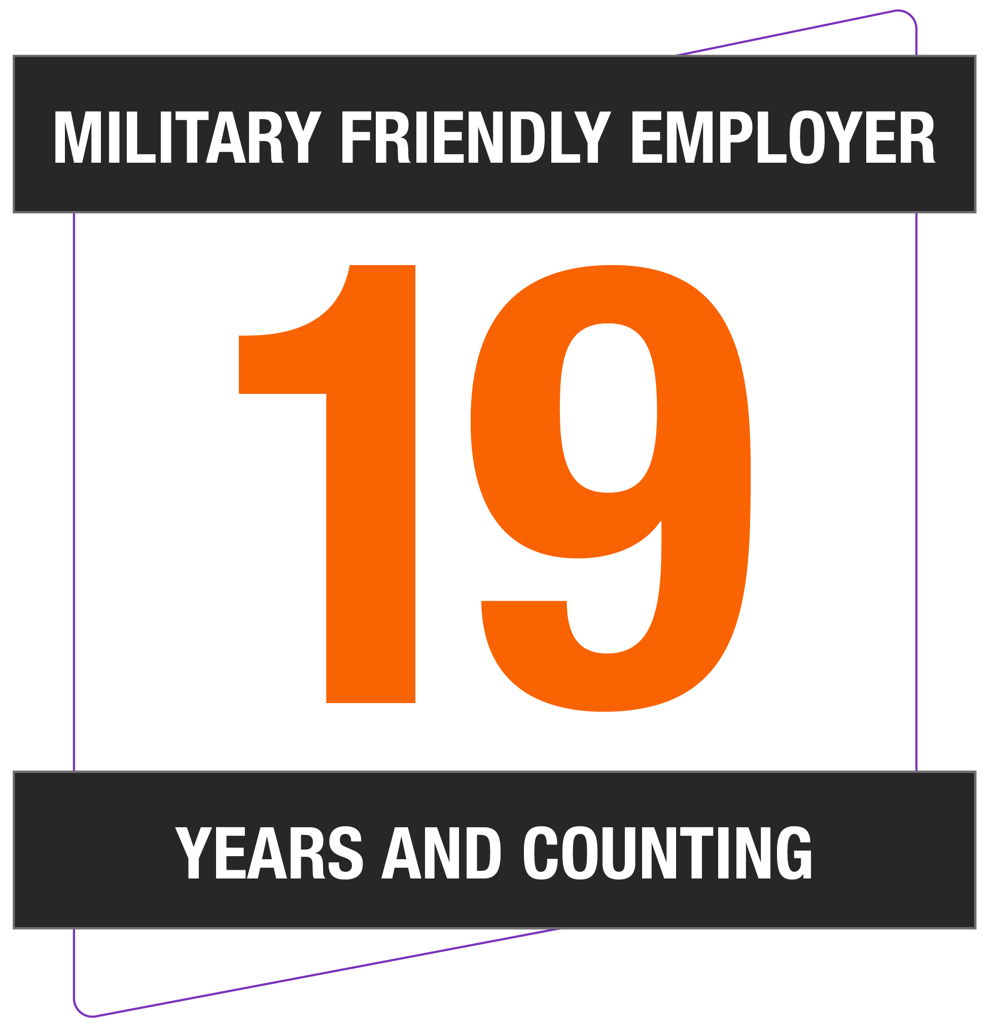 Military friendly employer 19 years and counting
