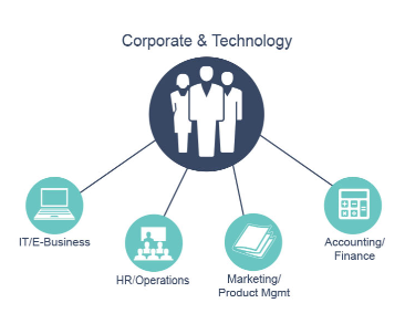 Graph of Corporate and Technology departments: IT/E-Business, HR/Operations, Marketing/Product Management, Accounting/Finance.