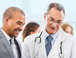 Two doctors looking at a report