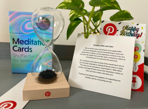 March mailer components: Meditation cards, stickers, note from the company, hourglass, bookmark