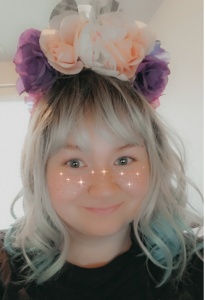 Person wearing a flower crown