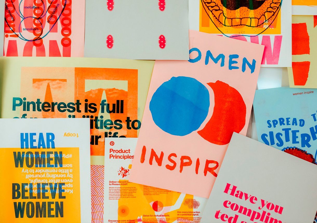 Various flyers for women's groups at Pinterest.