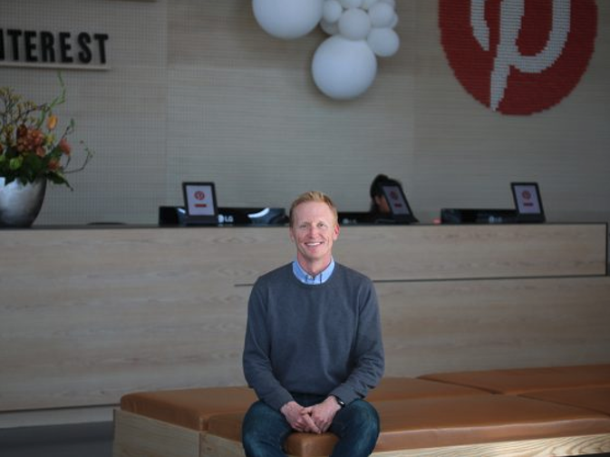 Jud Hoffman seated in the Pinterest SF office lobby