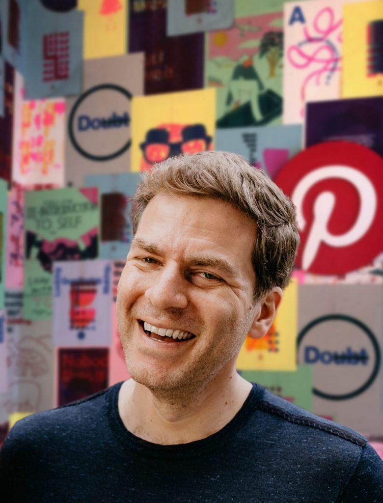Ari Simon's headshot on Pinterest background