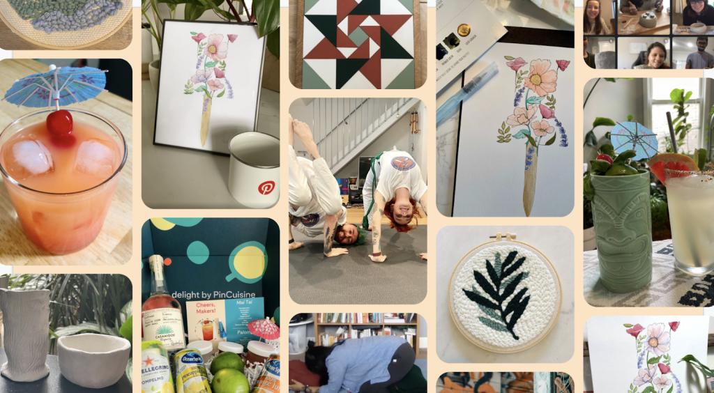 Various photos of highlights from Pinterest's Makeathon