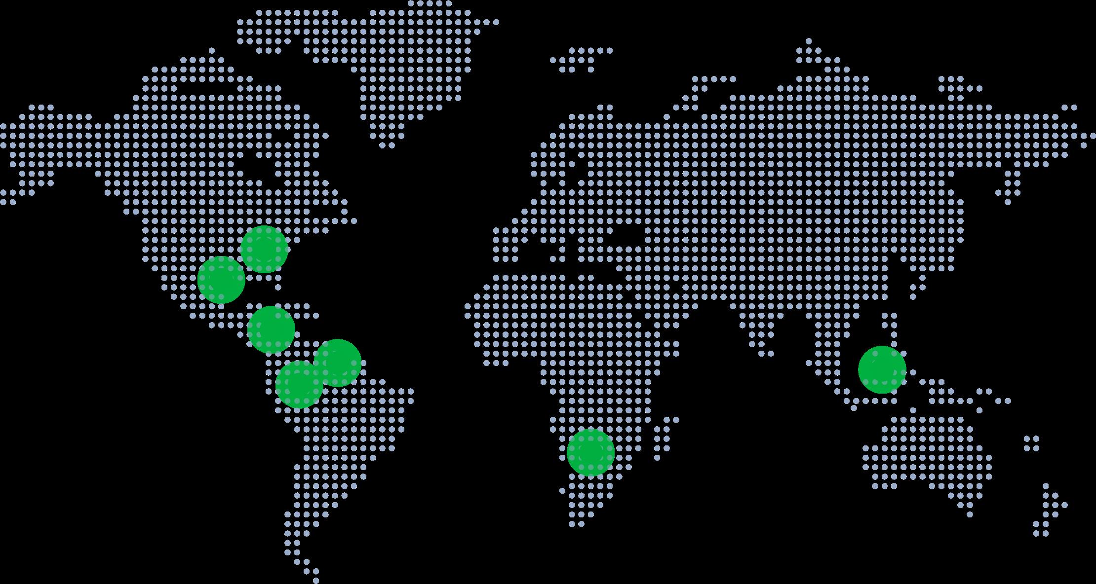 Mapa global dos escritórios da empresa