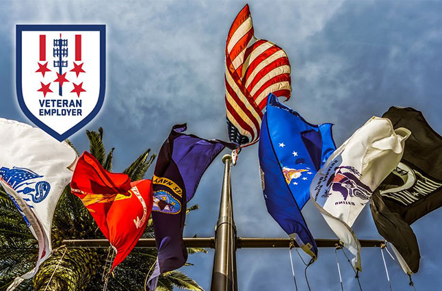 United States Armed Forces flags blowing in the wind