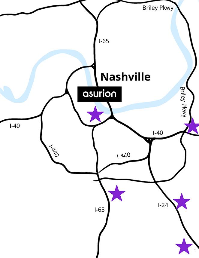 Asurion Nashville Locations Map