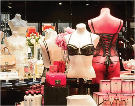 Lingerie apparel and beauty products displayed at an L Brands store