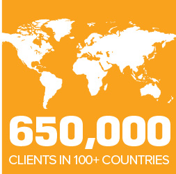 650,000 clients in 100+ countries