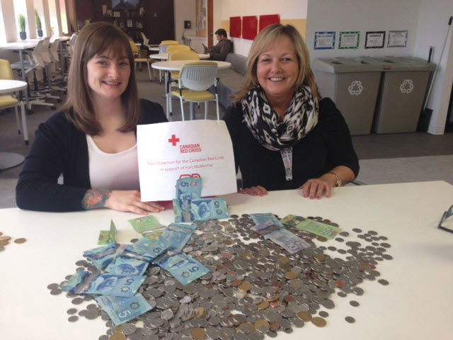 Two female volunteers for the Canadian Red Cross of Nova Scotia seated at a table with a pile of monetary donations.