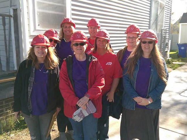 Group of ADP associates who volunteered to serve Habitat for Humanity in Cleveland, Ohio, USA.